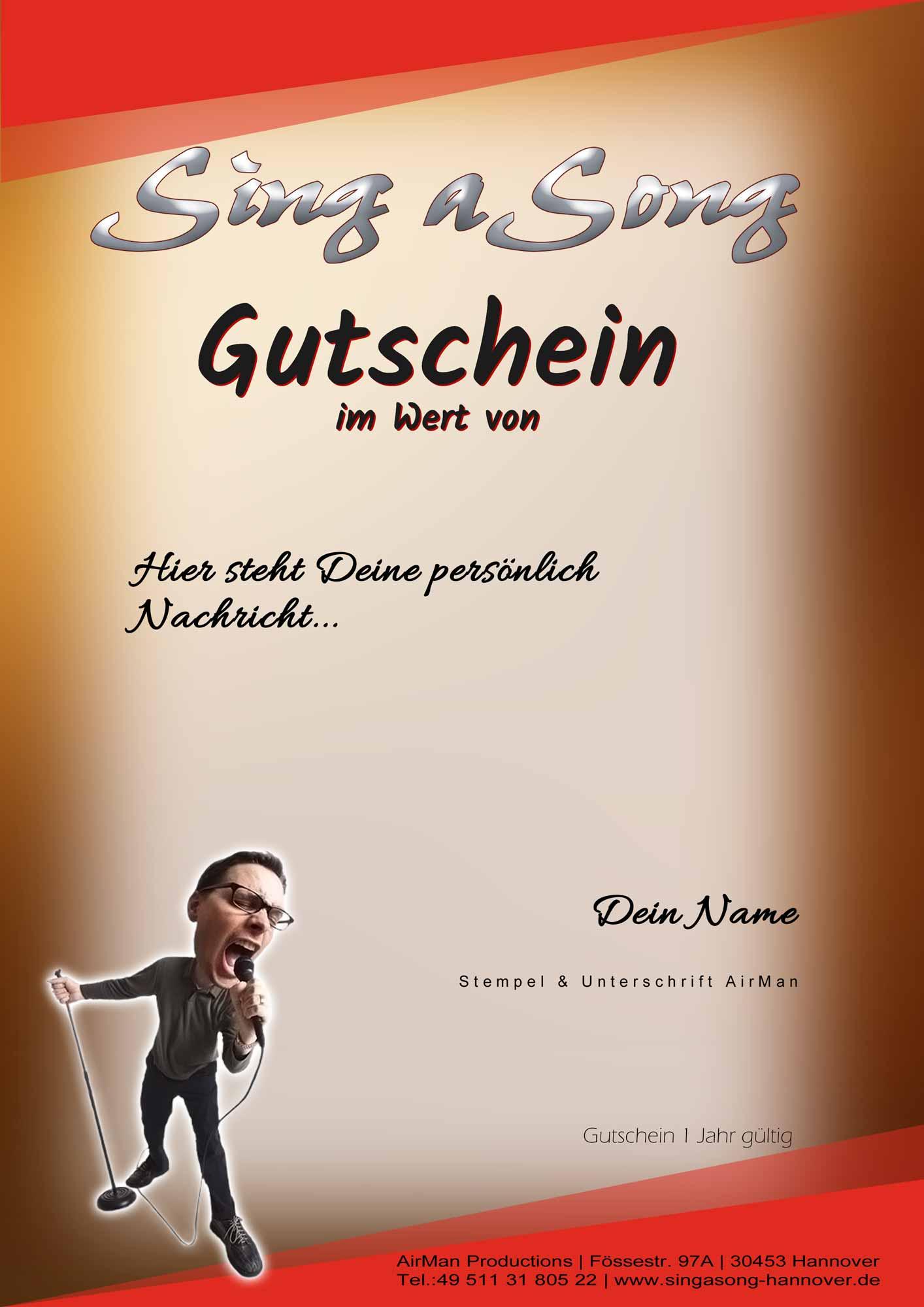 Sing a Song Gutschein   Tonstudio Hannover   besondere Geschenkidee
